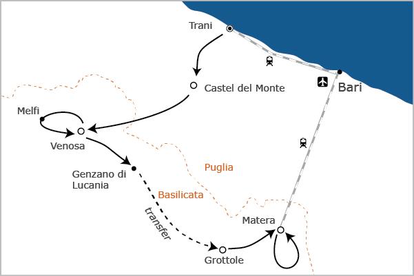 Puglia basilicata wijn en kastelen fietsreis