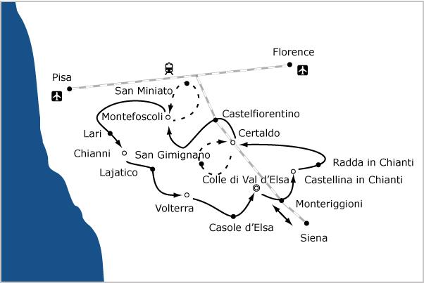 fietsvakantie toscane kaart onderweegs