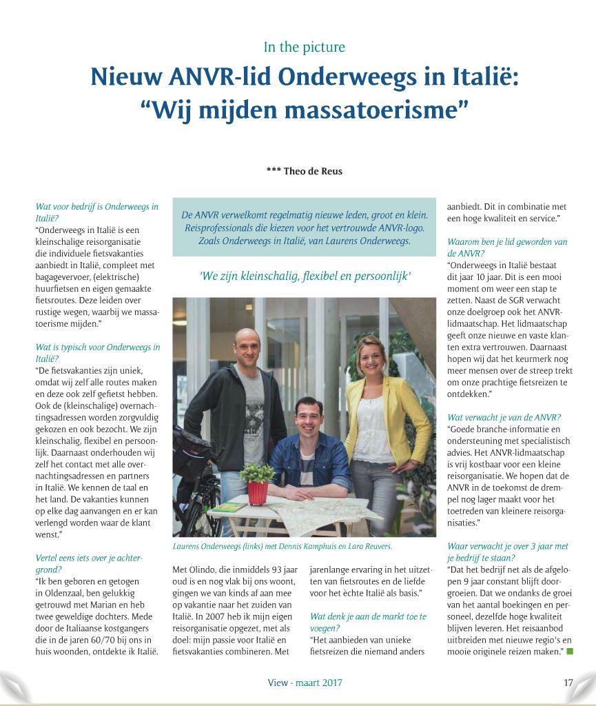 Interview Laurens fietsvakantie ANVR