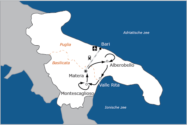 Fietsvakantie Italie Sassi en Trulli Basilicata Puglia