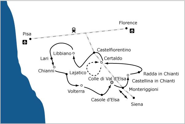 Fietsvakantie Toscane - kaart
