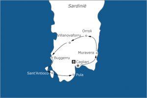 Sardinië fietsvakantie kaart