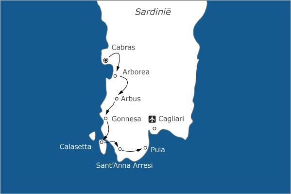 fietsvakantie op sardinie - kaart